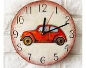 The Red Retro Car Wall Clock Home Decor for Children Kid Boy Girl Nursery Playroom