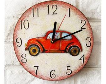 Red retro car Wall Clock, Dad Gift, Gift to our Father, Dad Appreciation Gift, Fathers Day Gift
