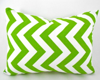 CLEARANCE SALE 1 Chartreuse Green  White ZigZag Lumbar Back Support Pillow Cover