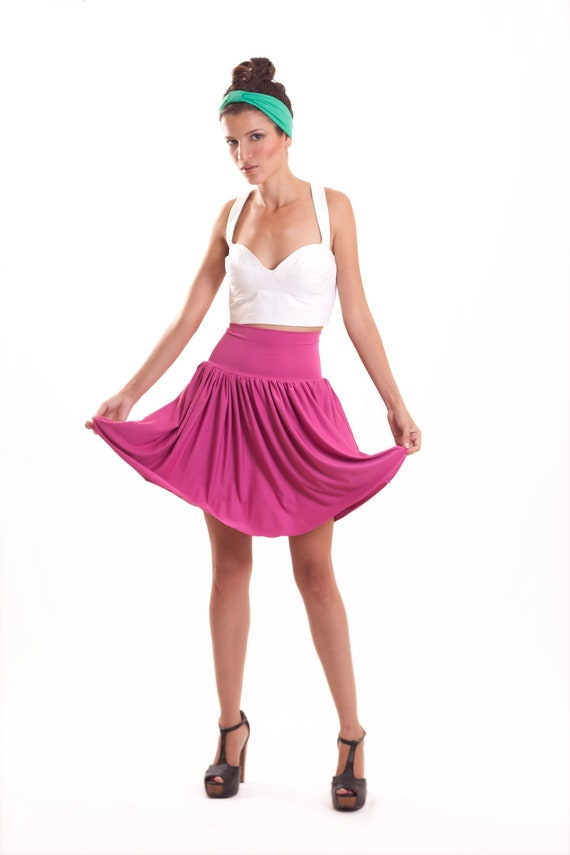 Stretch Skirt Hot Pink Knee Length