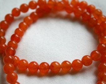 6mm Apricot Jade Round Beads