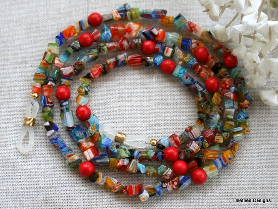 Colorful Beaded Eye Glass Necklace