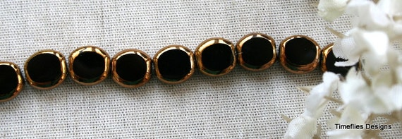 10 Black and Copper Table Cut Glass Beads