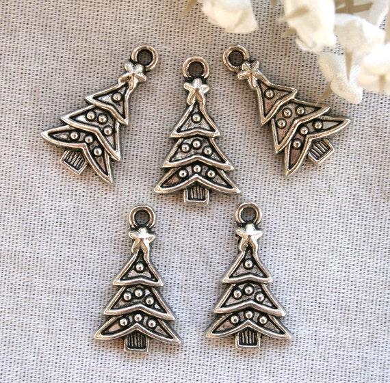 5 Tibetan Silver Christmas Tree Charms/Pendants