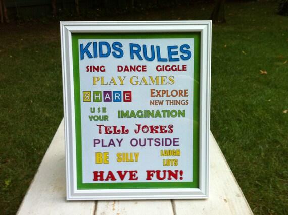Kids Rules Framed Sign