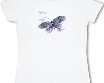 Ladies watercolor butterfly T-shirt