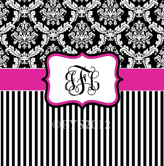 Damask and Stripe - Hot Pink, Black and White -Personalized Shower Curtain, Custom Monogrammed Curtain
