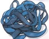 "Blue Moon 42"" hand dyed silk wrist wrap bracelet  ribbon//Yoga wrist wrap bracelet ribbons//Silk wrist wrap ribbon// By Color Kissed Silk"
