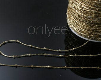 2yd)- 14K gold plated brass flat snake chain 2mm ball chain(N109G)