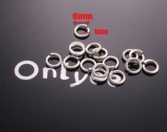 50 grams- 6mm Rhodium plated brass jump rings(1mm)(K282S)