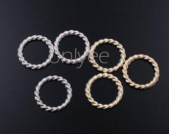 20pcs-15mm Rhodium,14K Gold plated Zinc Alloy Twisted Hoop Loop pendant, connector, charm(K318)