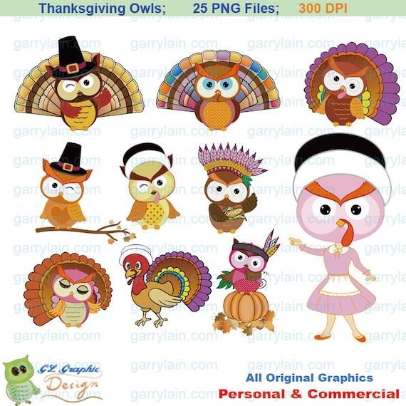 Items similar to Thanksgiving owl clip art, digital Turkey ...