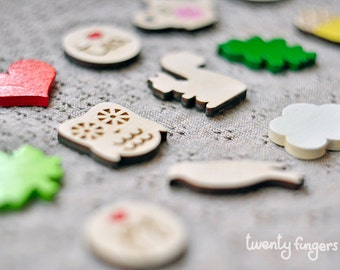 Lovely wooden brooch, set of 3 pieces - laser cut wood