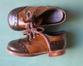 Vintage Brown Toddler Oxfords 12-18 months.