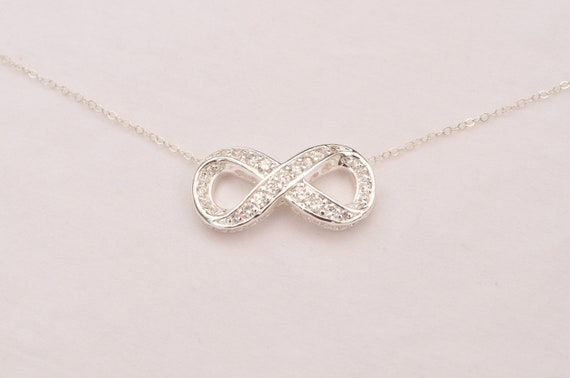 Infinity Necklace With Crystal CZ on Sterling Silver Chain