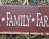 "Primitive Shabby Western Rustic Wood Sign/Shelf Sitter ""Faith Family Farming"""