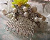 Simple leaf sparkle rhinestones crystals wedding bridal hair comb