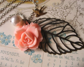 Bloom peach rose flying sparrow Swarovski pearl leaf charm pendant nature garden necklace, vintage necklace, flower necklace, brass necklace