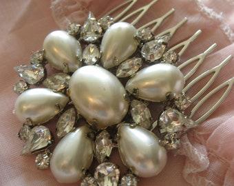 Sparkle oval Swarovski crystals and pearls wedding bridal bridesmaids hair comb, pearls comb, wedding hair comb, rhinestones comb, accessory