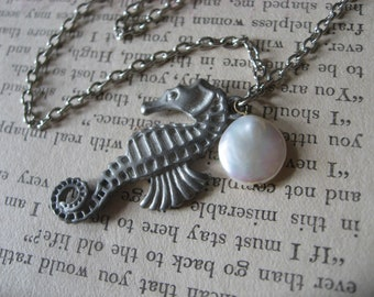 SALE - Simple seahorse mother pearl necklace