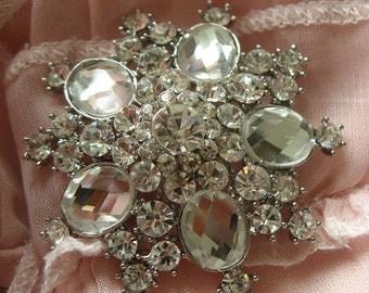 Haute wedding bridal rhinestone crystals dress hair floral cake bling sparkling brioch pin
