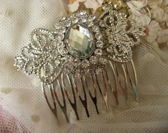 Vincy Victorian Swarovski rhinestone crystals wedding bridal bridesmaids flower girls hair comb