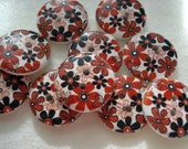 15mm Wood Buttons with Orange Brown Flower Print pack of 15 wood buttons WW1509