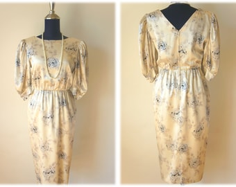 Sale 30% OFF from 53 US to 37.1 US - 1950's Golden Bage Silk Dress with Cuff Sleeves // Size S
