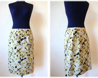 Retro 80's Vintage Cotton Pencil Skirt // Size S