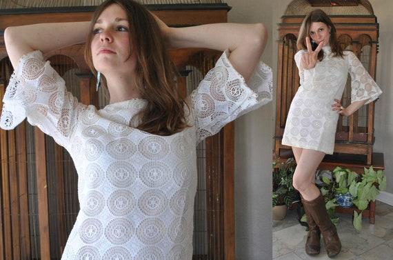 Lil' White Dress - vtg 60s 70s BELL sleeve sheer op-art LACE MINI festival wedding embroidered crochet skirt vintage bridal BoHo revival