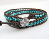The Turquoise Equestrian.  Multiwrap leather beaded bracelet with turquoise pearls and brown leather.