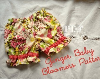 Ginger Baby Bloomers - 6 sizes - Easy PDF Sewing Pattern - Babies Toddlers - Newborn, 0-3, 3-6, 6-12, 18, 24 months