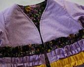 Girls Ruffled Jacket , Size 6 - 12 Months ; Toddler Jacket ; Girls Purple Jacket ; Children's Clothing