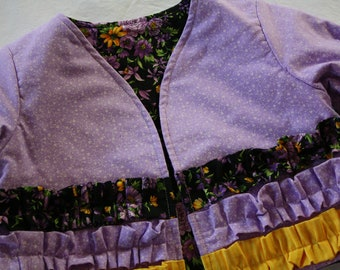 Girls Ruffled Jacket , Size 6 - 12 Months ; Toddler Jacket ; Girls Purple Jacket ; Children's Clothing