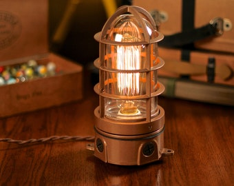 Vintage Industrial Explosion Proof Cage Edison Bulb Table Lamp