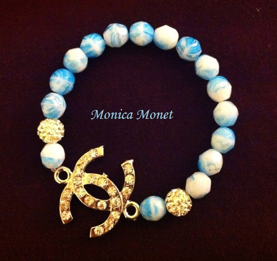 Chanel Inspired Rhinestone Bracelet Sky Blue With Crystals and Pave Beads