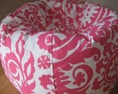 Candy Pink and White Ball Shaped Bean Bag Chair COVER ONLY