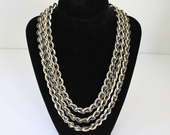 Vintage Triple Strand Silver Chain and Black Cord Necklace