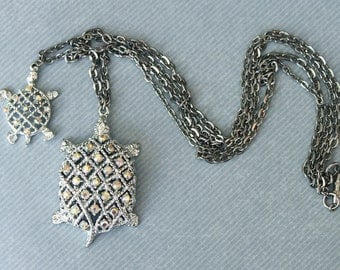 AB Rhinestone Double Strand Turtle Pendant Necklace