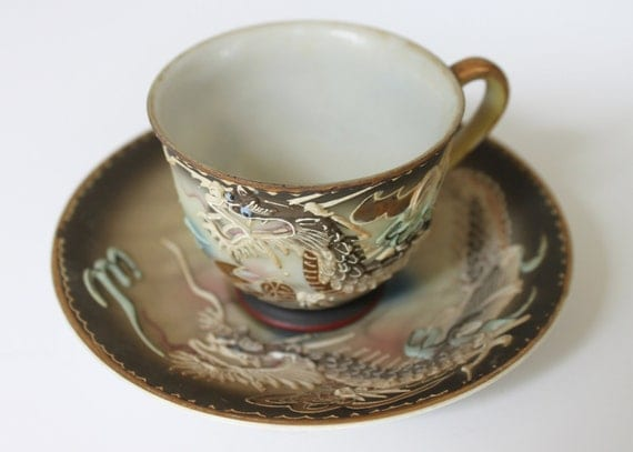 Japanese Dragon Tea Cup and Saucer Set, Hand Painted w/Gold Accents