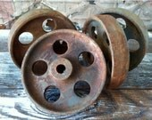 4 Vintage 5-Inch Industrial Cast Iron Wheel Set, Old Metal/Steel Factory Cart Caster Lot