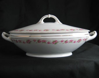 Vintage Covered Vegetable Bowl, Covered Casserole - Bavaria Heinrich Selb - Made in Germany - Marquis Pink Roses - H & Co. China