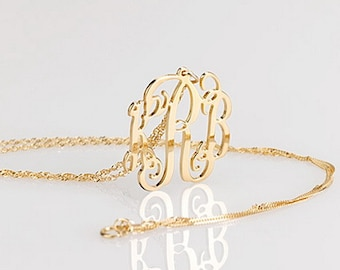 Monogram necklace - 1 inch Personalized Monogram - 14k Solid Gold