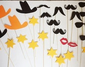 Photo Booth Western  Party Props, 30 Piece Set, Photobooth Wedding Photo Props, customize