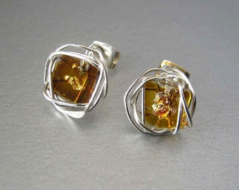 Mosaic Stud Earrings, Silver Gold Studs,Amber Gold Art Glass Silver Wire Wrapped Post Earrings