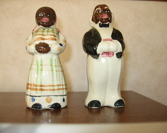 Black Americana salt and pepper Mammy and Butler salt and pepper set