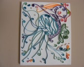 quilled jelly fish on 8x10 canvas