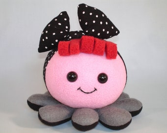 octopus plush toy rockabilly black polka dot bow in pink and grey fleece