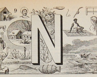 Antique French Dictionary Page - The Letter N - Initial - Alphabet - Original Engraved Lithograph 1937