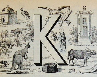 Antique French Dictionary Page - The Letter K - Initial - Alphabet - Original Engraved Lithograph 1937
